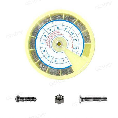 Set of nickel screws and nuts